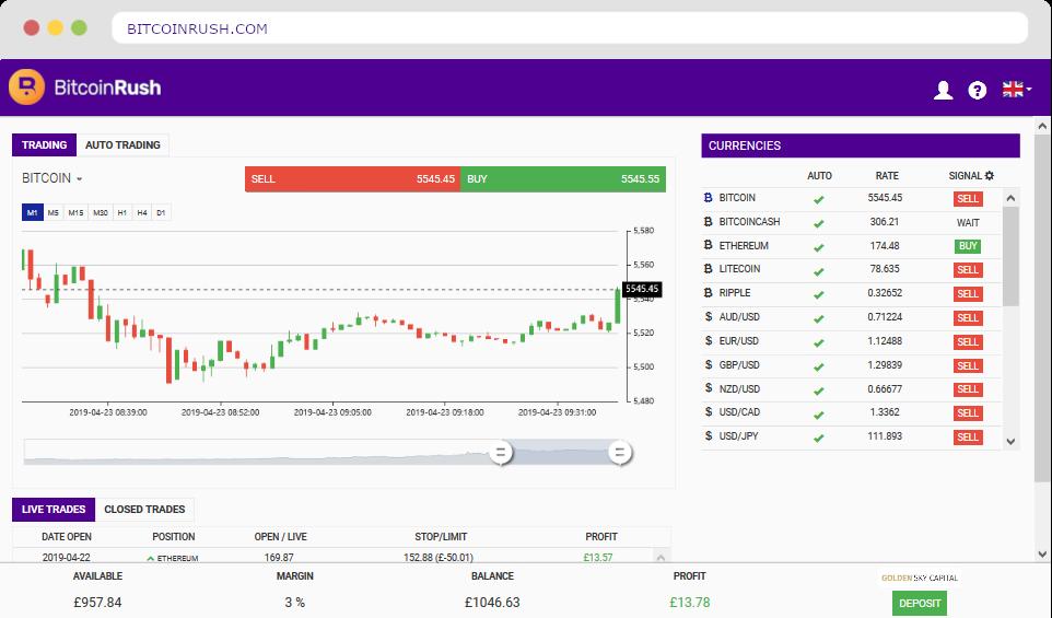 Bitcoin Rush Scam Screenshot