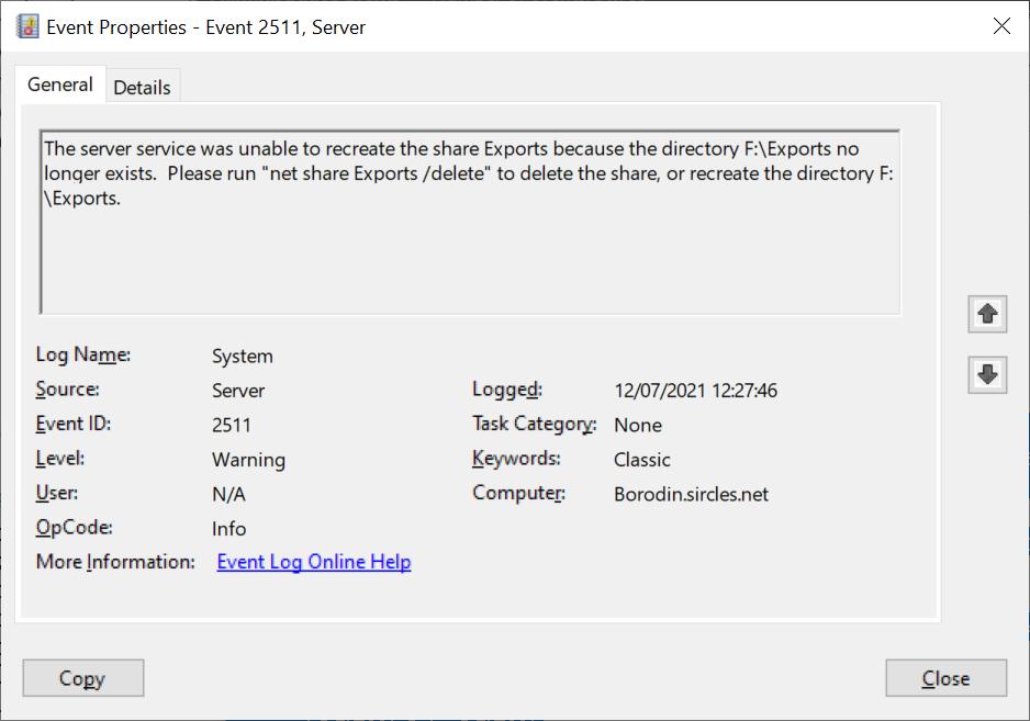Event 2511 /delete