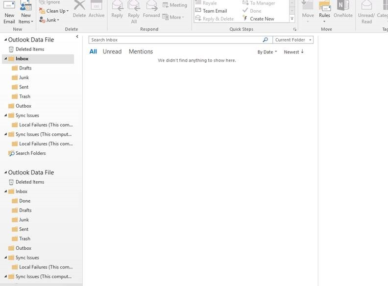 Blank folders after opening outlook pst files