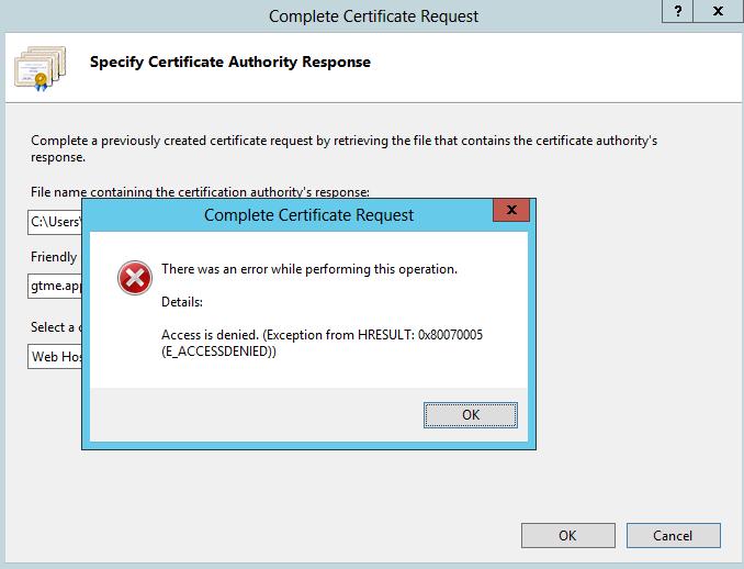 completing certificate error 2012 iis