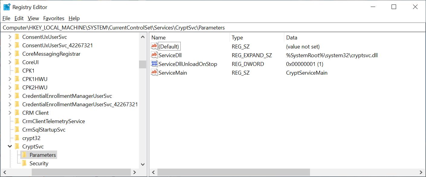 Computer\HKEY_LOCAL_MACHINE\SYSTEM\CurrentControlSet\Services\CryptSvc\Parameters
