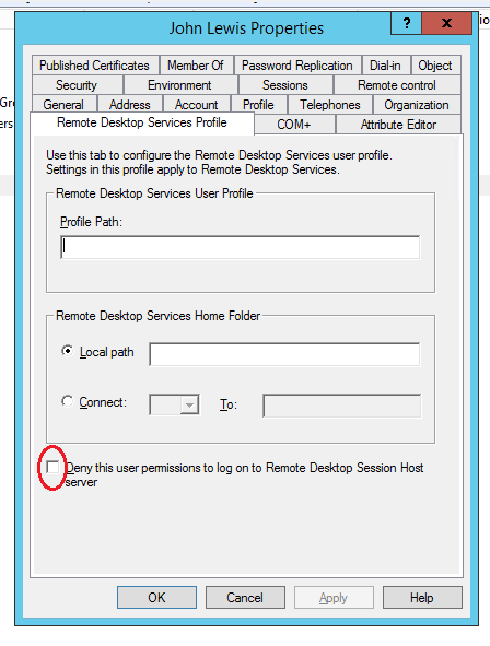 Deny this user permissions to log on to Remote Desktop Session Host server