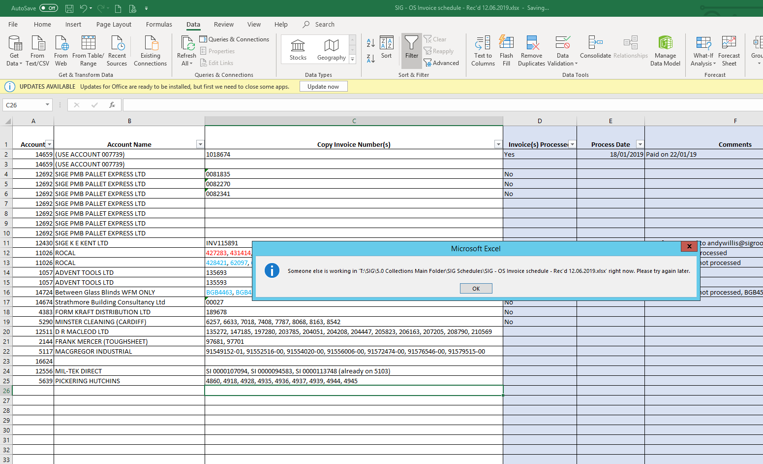 Excel Error: Someone else is working on file right now. Please try again later