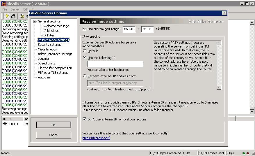 FileZilla Server Settings PASV