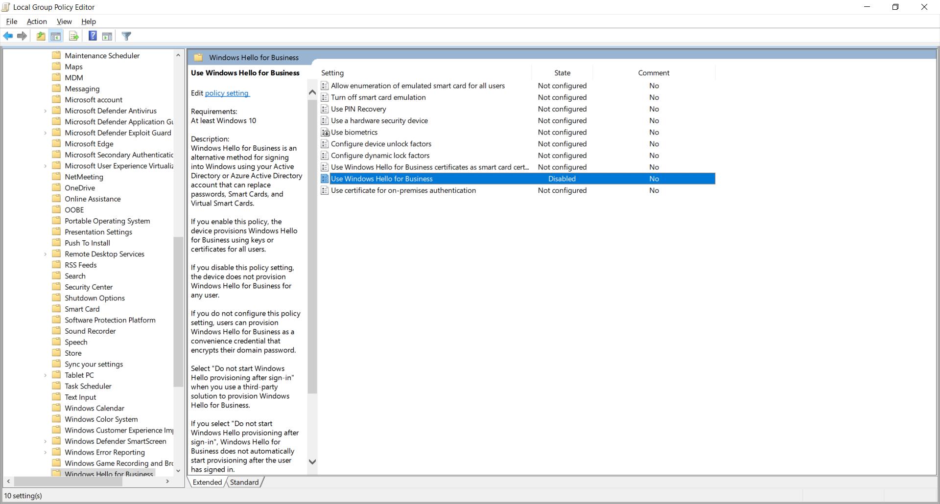 Diable Windows Hello at start-up on Windows 10