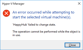 The operation cannot be performed while the object is in use