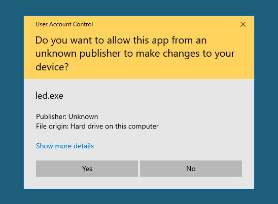 caseware idea reboots Windows 10 then runs led.exe
