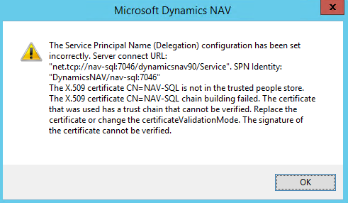 The service principle name  (Delegation) configuration has been set incorrectly.