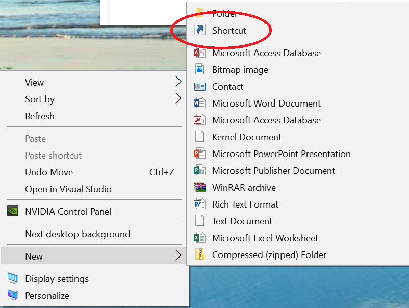 Windows 10 desktop new shortcut