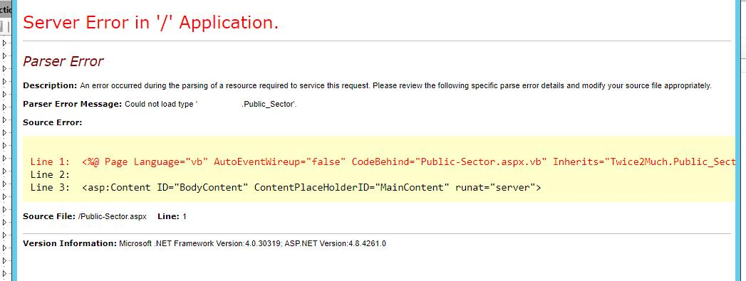 parser error IIS 8