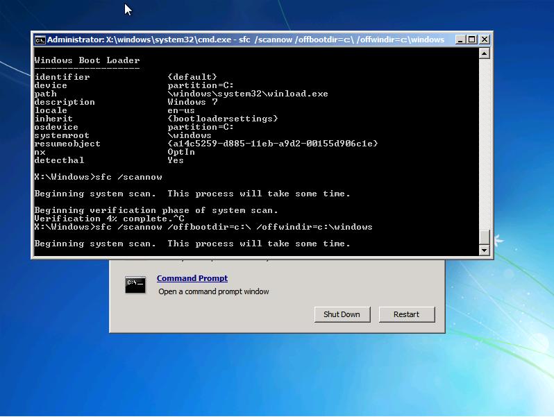 sfc /SCANNOW /OFFBOOTDIR=c:\ /OFFWINDIR=c:\Windows