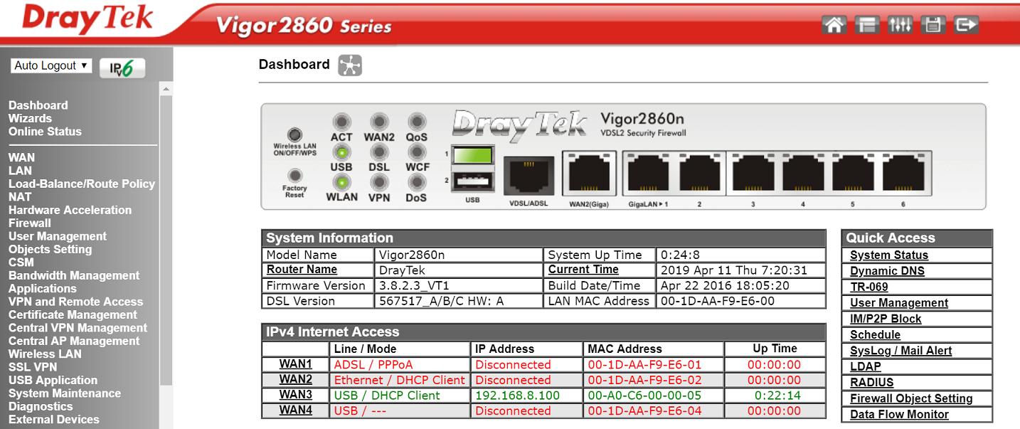 DrayTek Vigor 2860 4G set-up