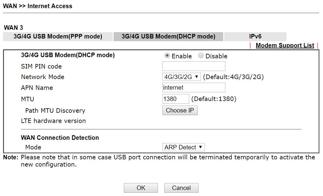DrayTek Vigor 2860 3G/4G USB Modem(DHCP Mode) settings